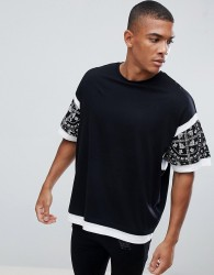 ASOS DESIGN oversized t-shirt with colour block and paisley print - Black