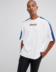 ASOS DESIGN oversized t-shirt with colour block and space text - White