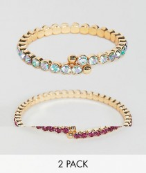 ASOS DESIGN pack of 2 bracelets with coloured crystals in gold - Gold