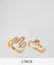 ASOS DESIGN Pack Of 2 Cactus And Stone Rings - Gold