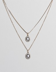 ASOS DESIGN pack of 2 necklaces with vintage style cameo with pearl and crystal detail in gold - Gold