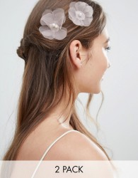 ASOS DESIGN Pack Of 2 Occasion Pearl Flower Hair Pins - Multi