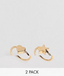 ASOS DESIGN pack of 2 pinky rings with heart and star detail in gold - Gold