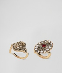 ASOS DESIGN Pack Of 2 Vintage Style Jewel Stone And Engraved Rings - Gold
