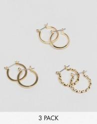 ASOS DESIGN pack of 3 20mm hoop earrings in gold - Gold
