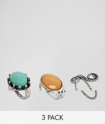 ASOS DESIGN Pack Of 3 Burnished Faceted Stone Rings - Silver