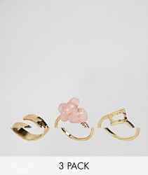 ASOS DESIGN Pack of 3 hammered and rough cut stone rings - Gold