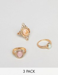 ASOS DESIGN pack of 3 rings in cut out and engraved design with stones in gold - Gold