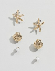 ASOS DESIGN pack of 3 stud earrings with shell and starfish design in gold - Gold