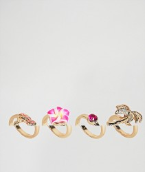 ASOS DESIGN pack of 4 palm trees and flamingo rings - Gold