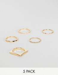 ASOS DESIGN pack of 5 rings in engraved and cut out square design in gold - Gold