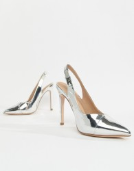 ASOS DESIGN Pepper pointed slingback high heels - Silver