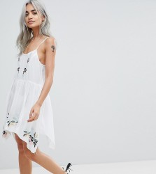 ASOS DESIGN PETITE Floral Cross Stitch Embroidered Strappy Beach Sundress - White