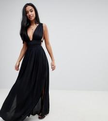 ASOS DESIGN Petite grecian plunge maxi woven beach dress - Black