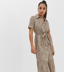 ASOS DESIGN Petite midi shirt dress with belt in leopard - Multi