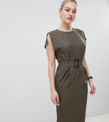 ASOS DESIGN Petite split cap sleeve midi pencil dress with buckle - Green