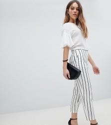 ASOS DESIGN Petite Tailored Linen Cigarette Trousers In Stripe - Multi
