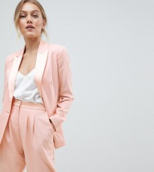 ASOS DESIGN Petite tailored satin contrast blazer - Pink
