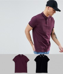 ASOS DESIGN Pique Polo With Tipped Collar 2 Pack Save - Multi