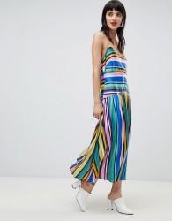 ASOS DESIGN pleated cami button through midi dress in stripe - Multi