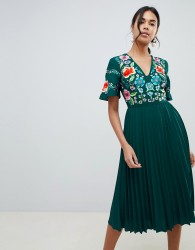 ASOS DESIGN pleated embroidered midi dress - Green