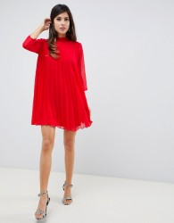 ASOS DESIGN pleated trapeze mini dress - Red