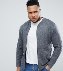 ASOS DESIGN plus bomber jacket in charcoal interest fabric - Grey