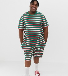 ASOS DESIGN Plus Christmas short pyjama set in festive stripes - Multi