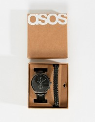 ASOS DESIGN Plus gift set with watch and bracelet in matte black - Black