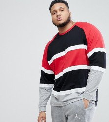 ASOS DESIGN Plus longline oversized long sleeve t-shirt with bright colour block - Multi
