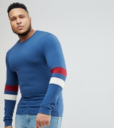 ASOS DESIGN Plus Muscle Fit Long Sleeve T-Shirt With Contrast Sleeve Panels - Multi