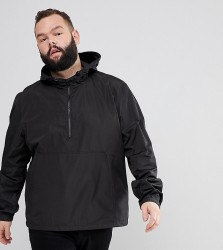 ASOS DESIGN Plus overhead windbreaker in black - Black