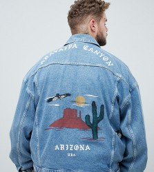 ASOS DESIGN Plus oversized denim jacket with back print - Blue