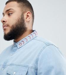 ASOS DESIGN Plus regular fit denim shirt with beaded aztec collar - Blue