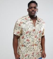 ASOS DESIGN plus regular fit satin viscose shirt with floral design in ecru - Beige