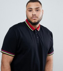 ASOS DESIGN Plus relaxed polo shirt with rainbow tipping in black - Black