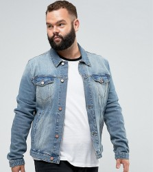 ASOS DESIGN Plus skinny denim jacket in mid wash - Blue
