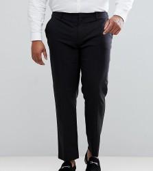 ASOS DESIGN Plus slim tuxedo suit trousers in black - Black