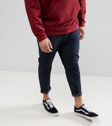 ASOS DESIGN Plus Tapered Jeans In Overdyed Wash With Rips - Blue
