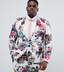 ASOS DESIGN Plus wedding skinny suit jacket with floral print - White