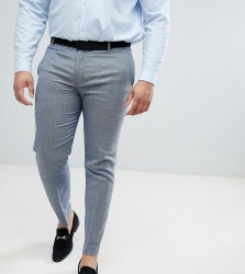 ASOS DESIGN Plus wedding skinny suit trousers in airforce blue micro texture - Blue
