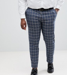 ASOS DESIGN Plus Wedding Skinny Suit Trousers In Blue And White Check - Blue