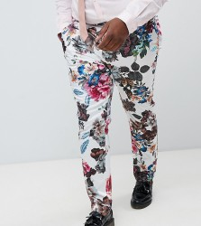 ASOS DESIGN Plus wedding skinny suit trousers with floral print - White