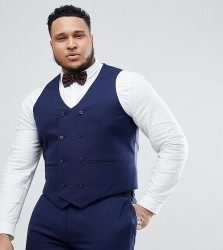 ASOS DESIGN Plus Wedding Skinny Suit Waistcoat In French Navy Micro Texture - Navy