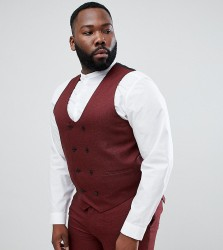 ASOS DESIGN Plus Wedding Skinny Suit Waistcoat In Wine Micro Texture - Red