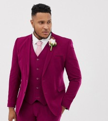 ASOS DESIGN Plus wedding super skinny suit jacket in plum - Purple