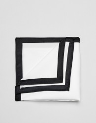 ASOS DESIGN pocket square in white with contrast border - White
