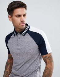 ASOS DESIGN polo shirt in interest fabric with contrast split sleeve in grey - Grey