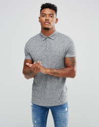 ASOS DESIGN polo shirt with button neck in interest rib - Grey