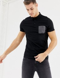 ASOS DESIGN polo shirt with contrast pocket in black - Black